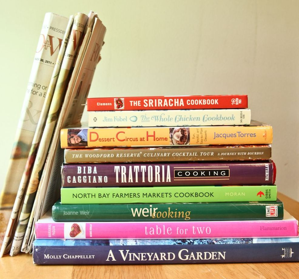 photos of cookbooks from moms plus newspaper food sections the