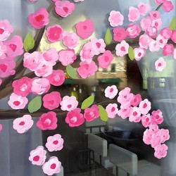 Sushi window with flowers very close up