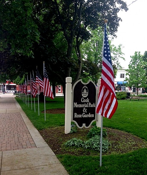 Memorial Day Cook Park sign