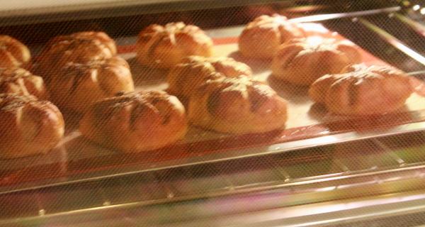 Bread Gloria's rolls through oven door