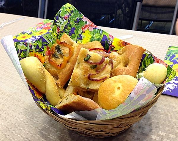 Bread basket of bread centerpiece