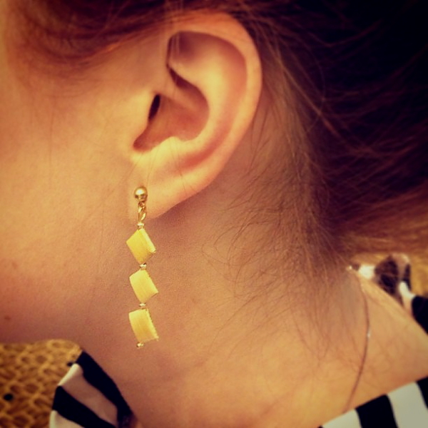 Bread earrings on Kristina