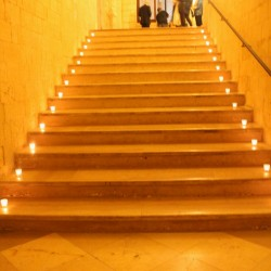 Lecce wine tasting stairway with candles