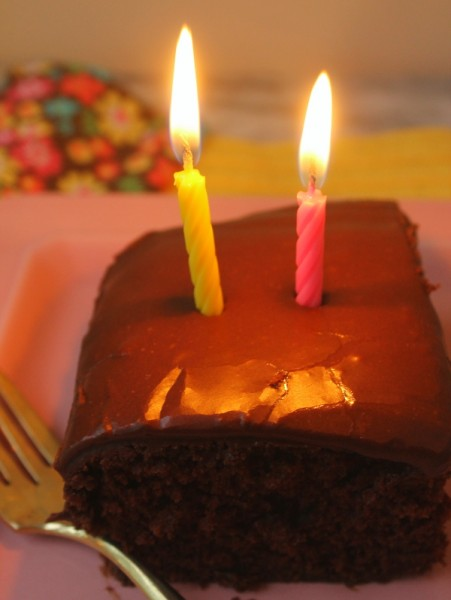 Clem chocolate cake with lit candles 1