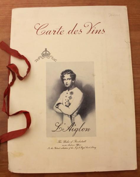 Clem French wine menu cover L'Aiglon