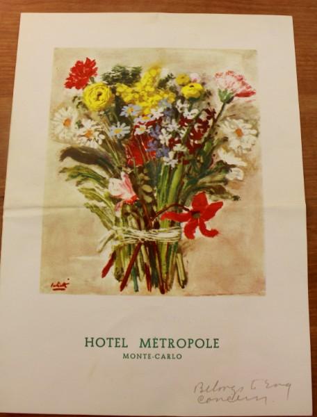 Clem Monte Carlo Hotel Metropole menu cover