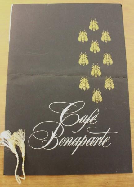 Clem menu cover Cafe Bonaparte
