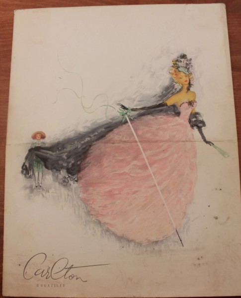 Clem menu cover lady in pink gown