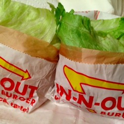 In & Out protein burgers in bag
