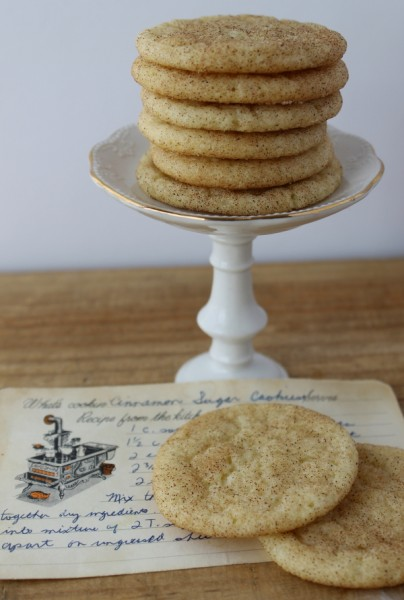 Snickerdoodles on stand with recipe