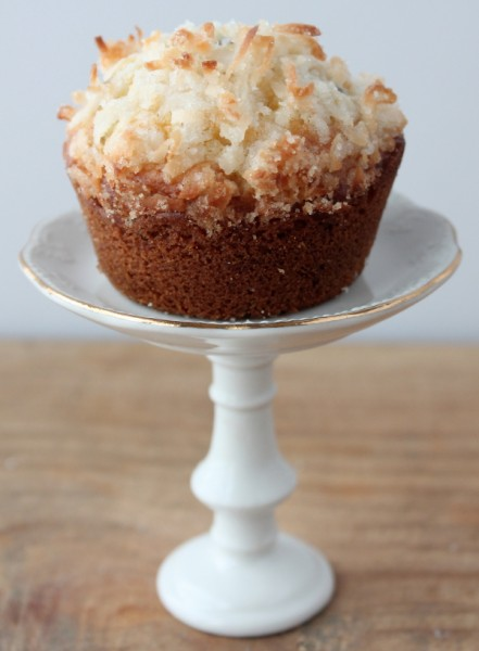 Orange Coconut Muffins on stand