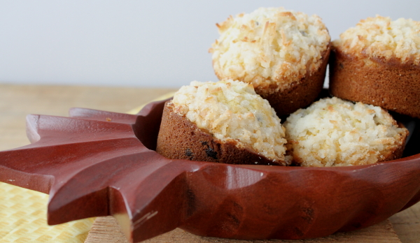 Orange Coconut muffins in bowl