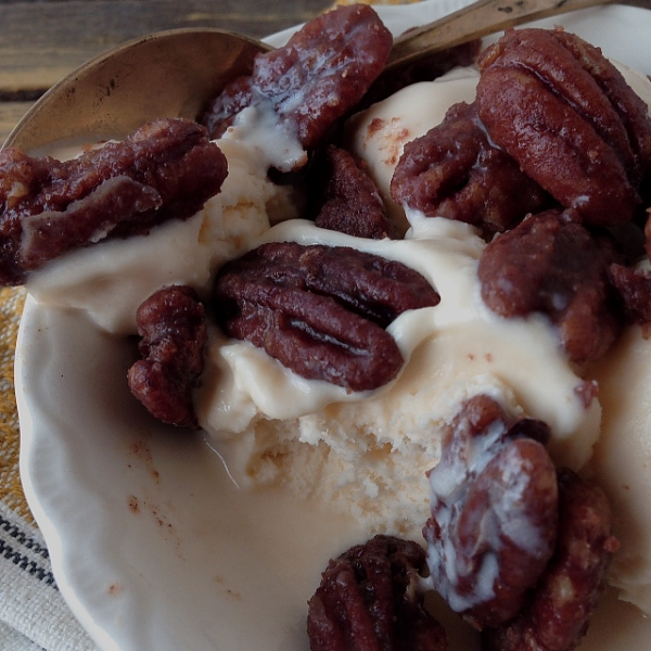 Candied pecans and ice cream eaten