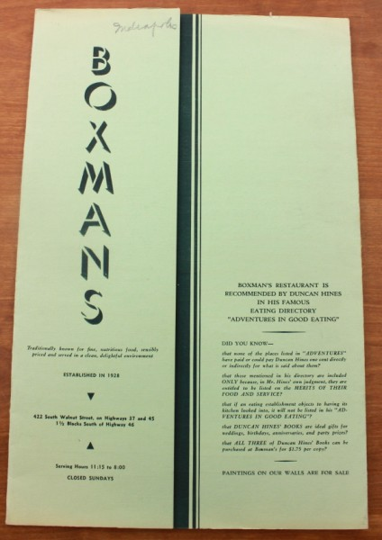 Clem Bloomington Boxman's menu cover