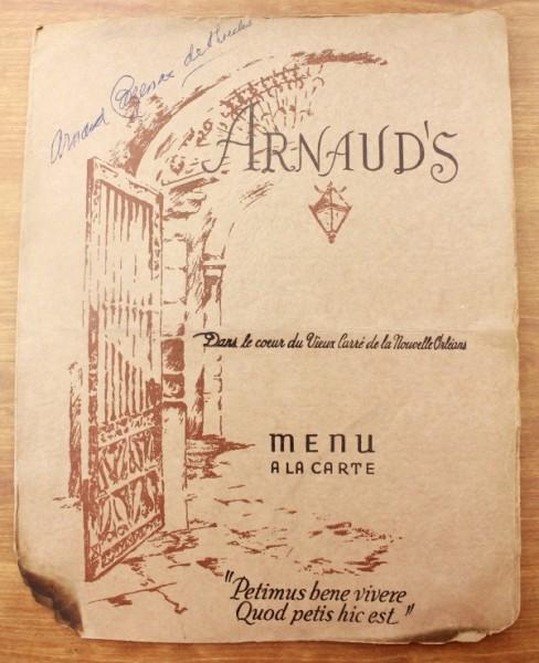 Clem New Orleans Arnaud's A la Carte Menu