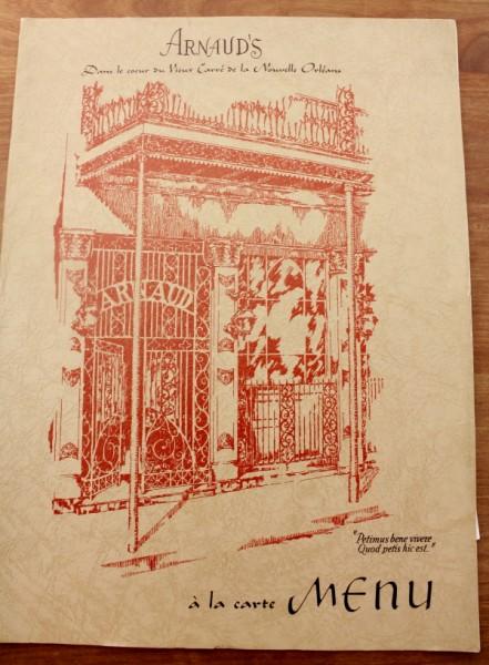 Clem New Orleans Arnaud's a la carte menu cover
