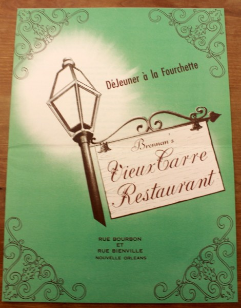 Clem New Orleans Brennan's Vieux Carre Restaurant green cover