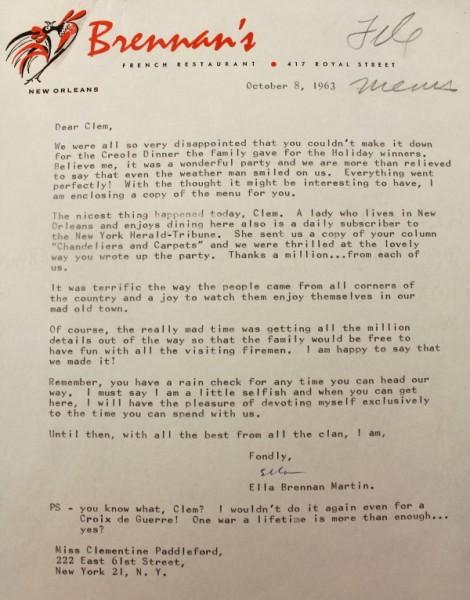 Clem New Orleans Brennan's letter