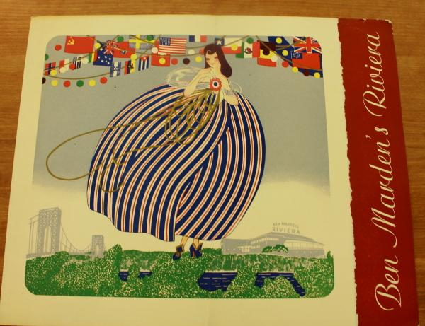 Clem New York Ben Marden's Riviera 1939 World's Fair menu  cover