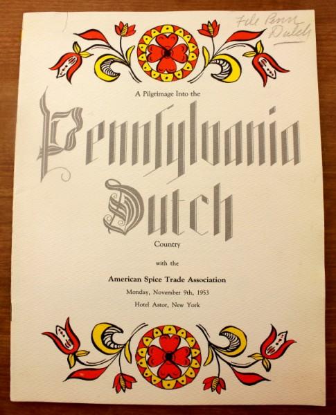 Clem Spice Association New York Pennsylvania Dutch menu cover