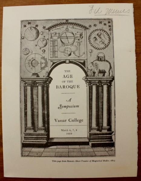 Clem Vassar College Age of Baroque menu