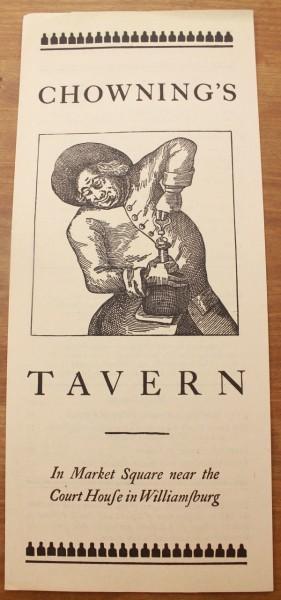 Clem Williamsburg menu cover Chowning's Tavern