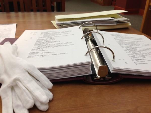 Clem binder with white gloves