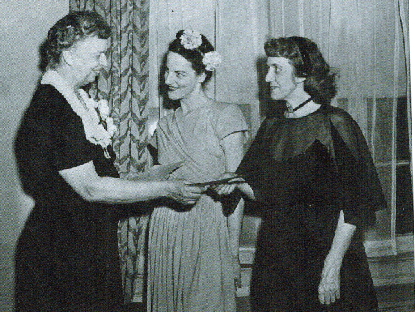 Clem receiving award from Eleanor Roosevelt