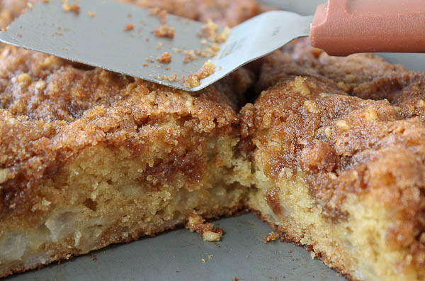 Pear Apple Coffee Cake In Pan With Slices Gone