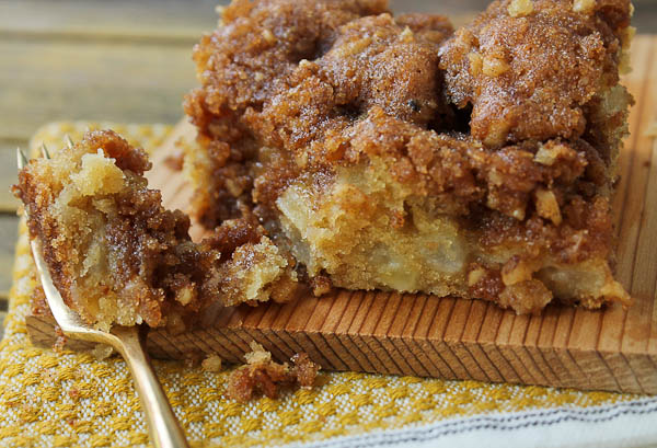 Pear Apple Coffee Cake slice with scoop on fork
