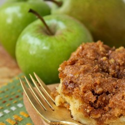 Pear Apple Coffee Cake slice with whole fruit