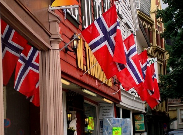 Norway flags on building