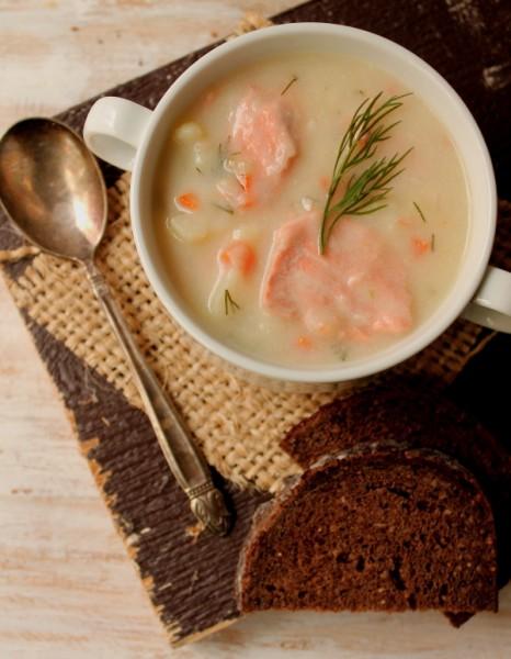 Salmon soup in bowl