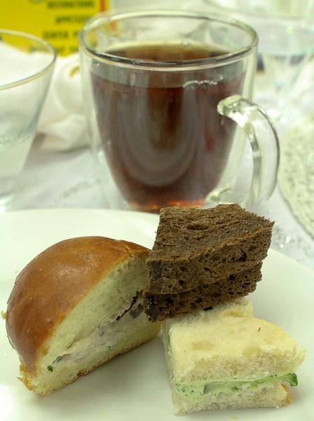 Advent tea sandwiches and tea mug