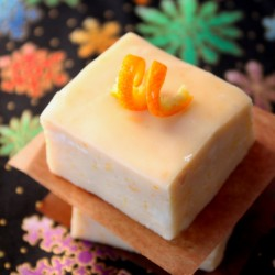 Creamsicle Fudge single piece with orange peel