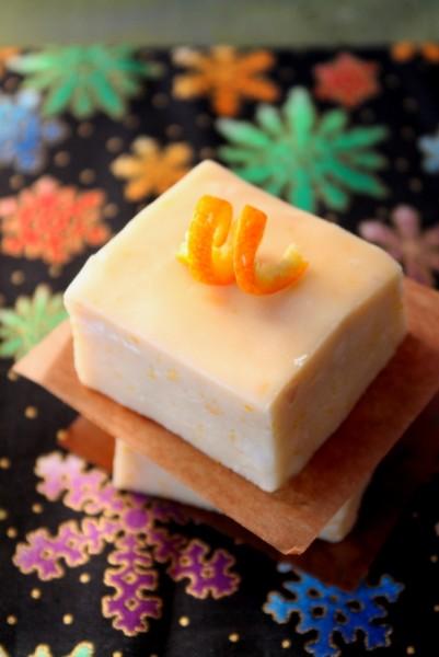 Creamsicle Fudge single piece with orange peel