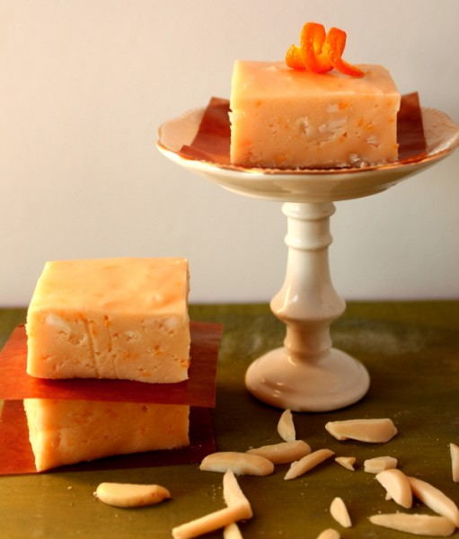 Creamsicle fudge on stand