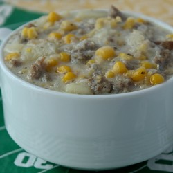 Corn Chowder Super Bowl close up