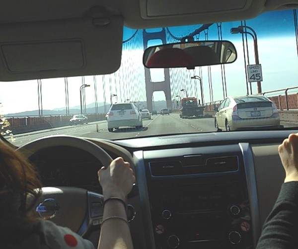 Car ride across Golden Gate