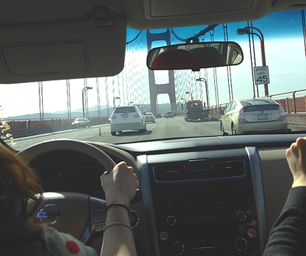 Tea Party ride to airport on GG Bridge