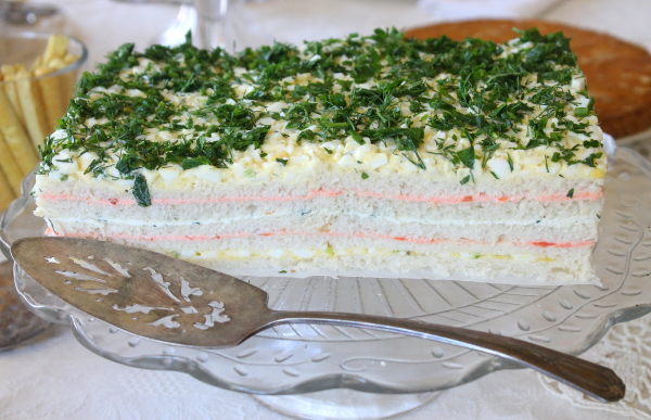 Tea Party sandwich cake up close