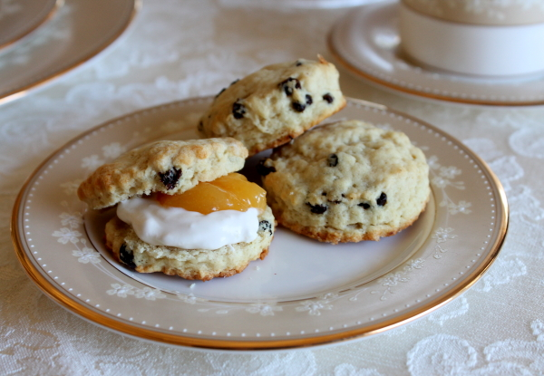 Tea Party split scone on plate