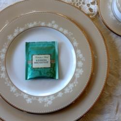 Tea Party tea bag on china
