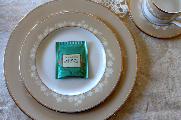 Tea Party tea bag on china