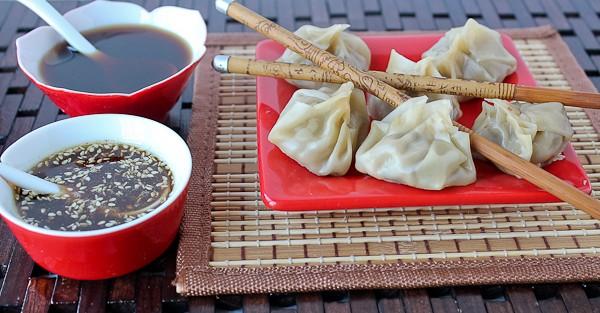 Dumplings 2 dips on left