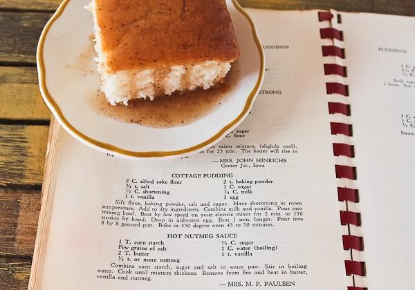 Iowa pudding cake on cookbook page
