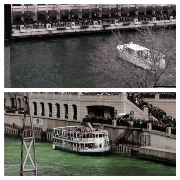 St. Patrick's Day green river before and after