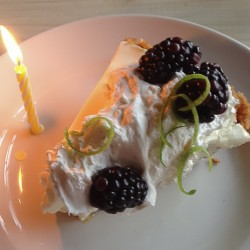 Trace Key Lime Pie with candle