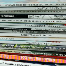 Magazine pile close up