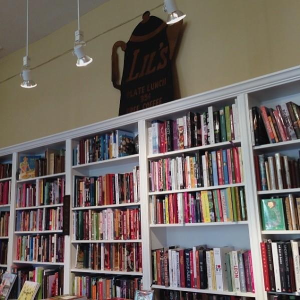 Omnivore book shelf with giant tea pot